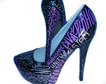 0ad768752d330 Inspirational Words Heels   Create Your Own Heels   Pick Your Words Heels    Hand Painted Heels   Custom Made Heels   Choose Your Words Heels
