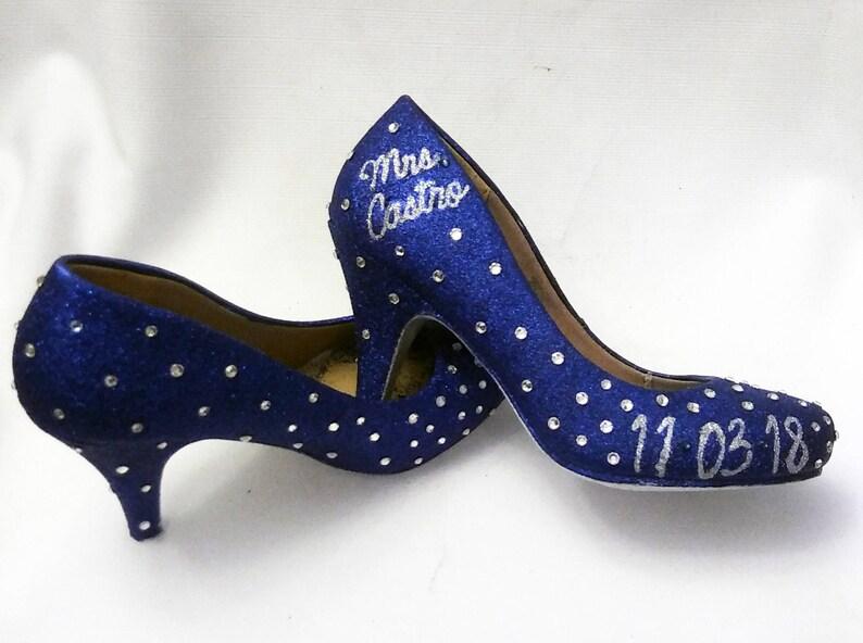75671ba634000 Glitter Heels / Blue Glitter Heels / Wedding Shoes / Sparkle Heels /  Sparkly Shoes / Wedding Heels / Women's Pumps / Women's Shoes / Crystal