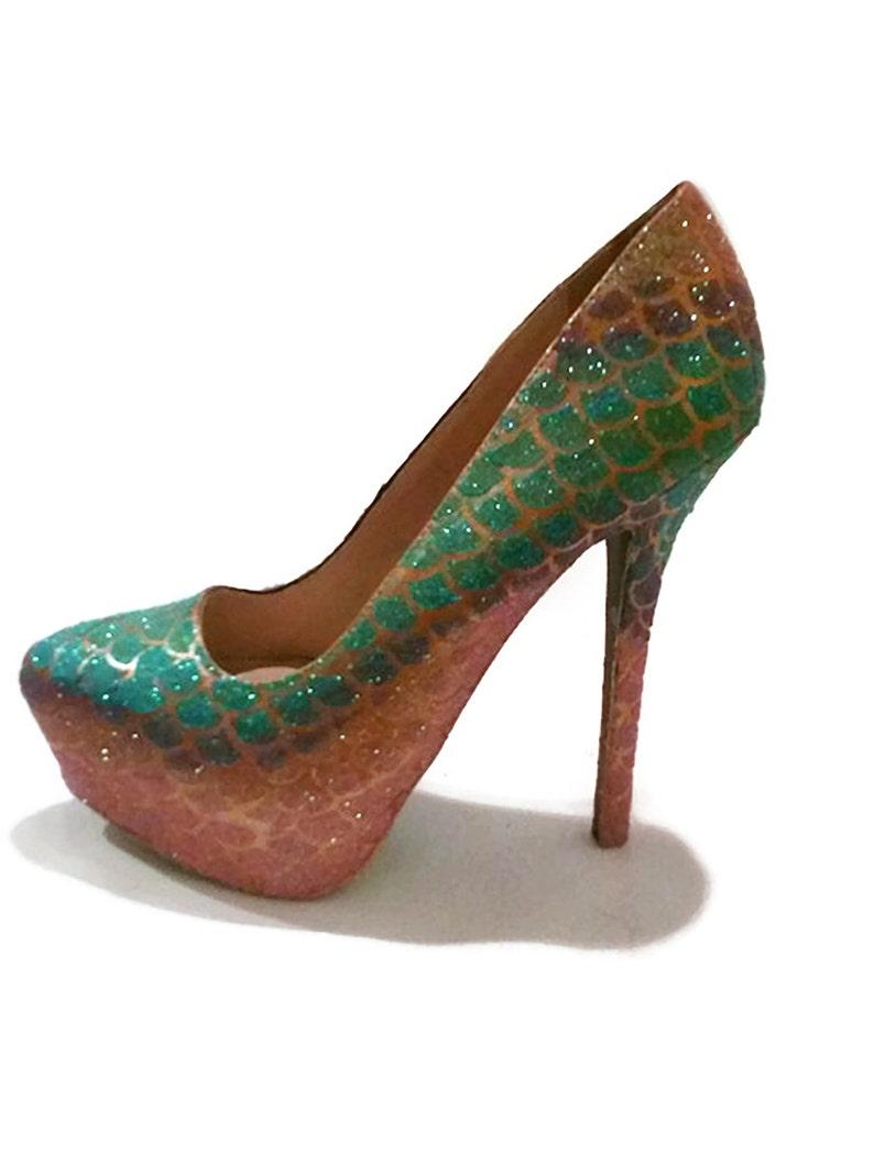 b958ea2c903 Glitter Heels / Mermaid Glitter Heels / Mermaid Scale Pumps / Glitter  Wedding Heels / Women's Shoes / Women's Pumps / Wedding Shoes