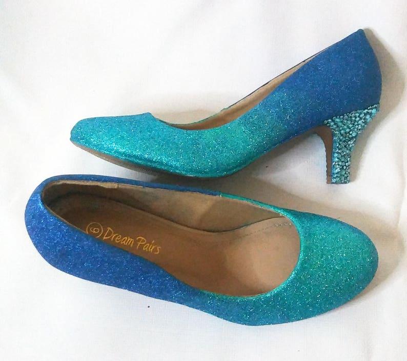 83217e81078c Ombre Glitter Heels   Turquoise Glitter Heels   Wedding Shoes