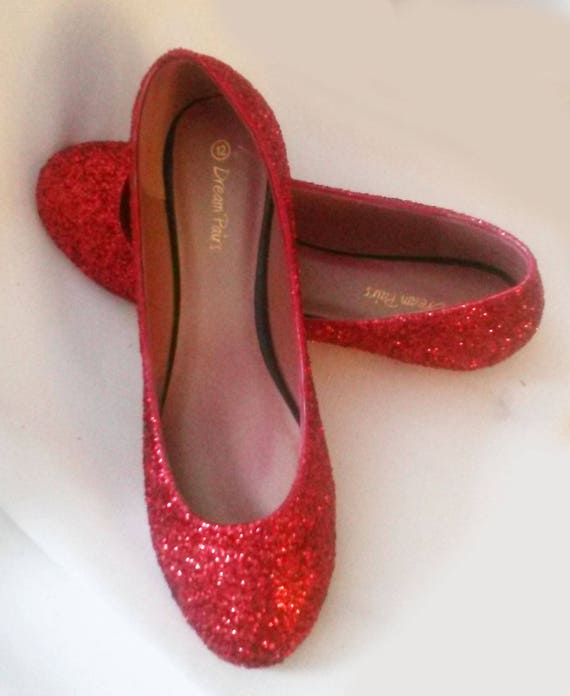 Glitter Flats   Red Glitter Flats   Wedding Shoes   Sparkle  98b04907e6