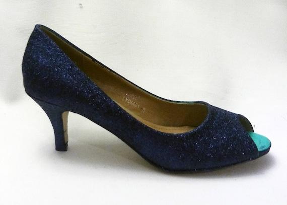 5544bb1ab877 Glitter Heels / Navy Glitter Heels / Wedding Shoes / Sparkle   Etsy