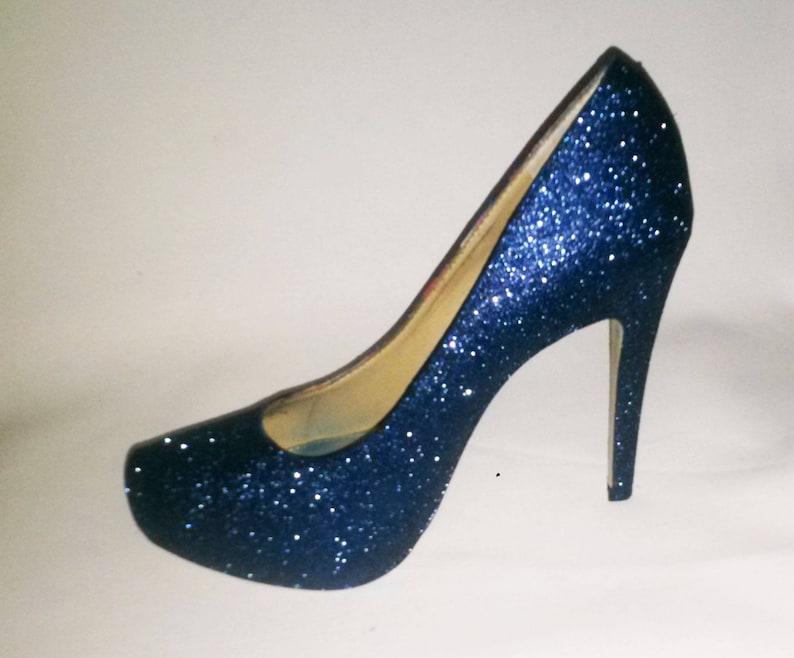 23033ba310da Glitter Heels   Navy Blue Glitter Heels   Wedding Shoes