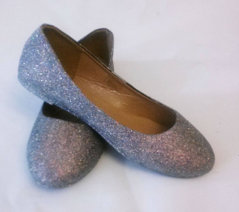 6b60a5bbdfb1 Glitter Flats / Grey Glitter Flats / Wedding Shoes / Sparkle image 0 ...