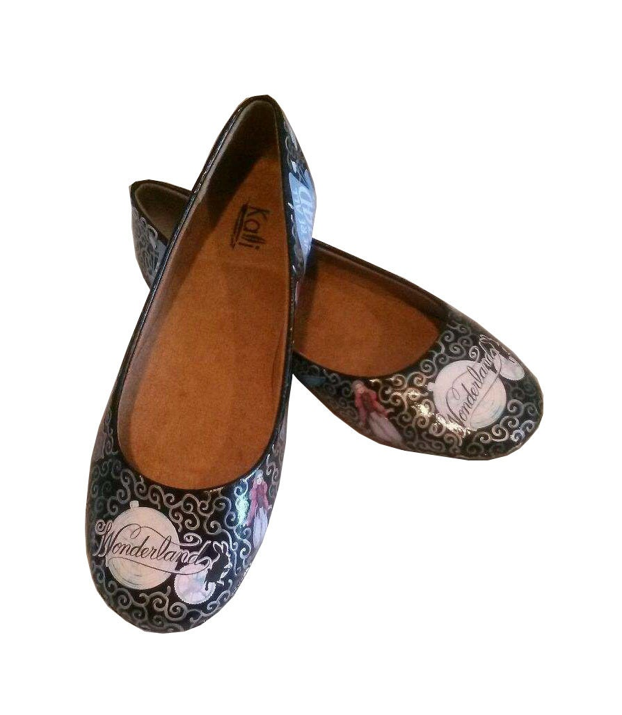 Alice In Wonderland Inspired Flats / Decoupage Hand Painted Shoes / Decoupage / Flats / Custom Made Flats / Alice Flats / Wonderland Shoes 562e31