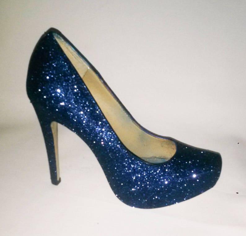 e8e28f978fba Glitter Heels / Navy Blue Glitter Heels / Wedding Shoes /   Etsy