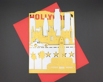 Los Angeles Greeting Card, Hollywood Boulevard, Grauman's Theater, Handmade Popup Souvenir Gift, Cityscape, Vacation, Travel, Welcome Home