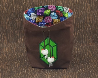 TLoZ-Inspired Gem Dice Bag with Glass Chicken Beads, Tarot Deck Purse, Druid Spell Card Sack, DnD Dice or Coin Pouch, Gift for Goblin