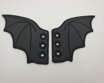 Matte Black Bat Shoelace Wings, Kawaii Spooky Shoe Accessory, Embroidered Vinyl Cute Boot Accent, Sneaker Lace Dragon Wings, Roller Skate