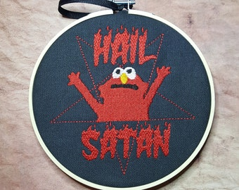 Hail Satan Puppet Embroidered Art with Hoop, Fiery Puppet Meme Wall Art, Satanic Embroidery Hoop Art, Goth Framed Art, Gift for Millennial