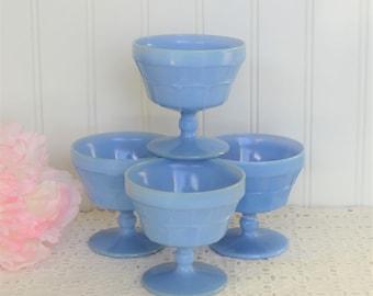 Jeannette Blue Delphite Doric Sherbet Set, Dessert Cups, Depression Glass