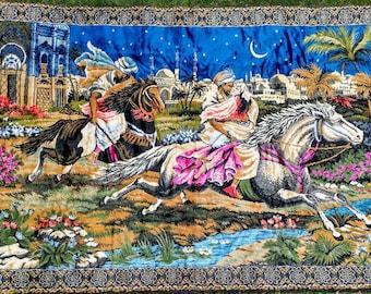 Vintage Velvet Italian Tapestry Large Wall Hanging Romantic Princess Horses