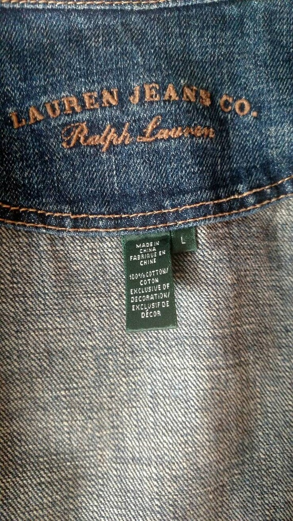 LAUREN By Ralph Lauren Vintage Denim Jacket  Zipp… - image 3