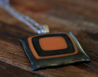 Fused Glass Art Necklace - Caramel Brown & Iridescent Pewter Grey