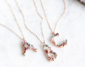 Crystal Lined Initial Necklaces on 14kt Rose Gold filled Chain
