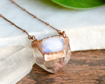 Rainbow Moonstone and Clear Quartz Point Necklace (Antique Finish)