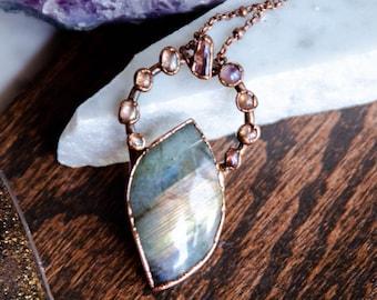 Labradorite and Angel Aura Quartz Necklace