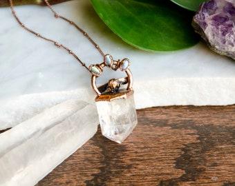Clear Quartz, Labradorite & Honey Bee Necklace