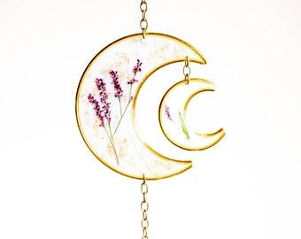 Double Moon Wildflower Sun Catcher, Wall Hanging