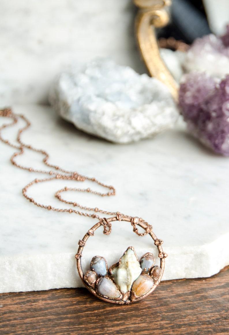 Sea Quartz and Seashell Necklace RESERVED For Etsy Design Awards Salt