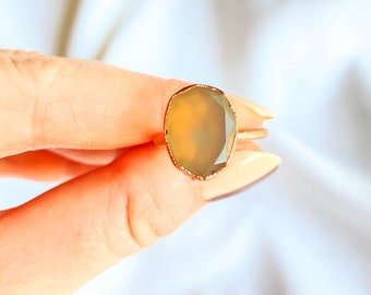 Size 6 Green Chalcedony Ring