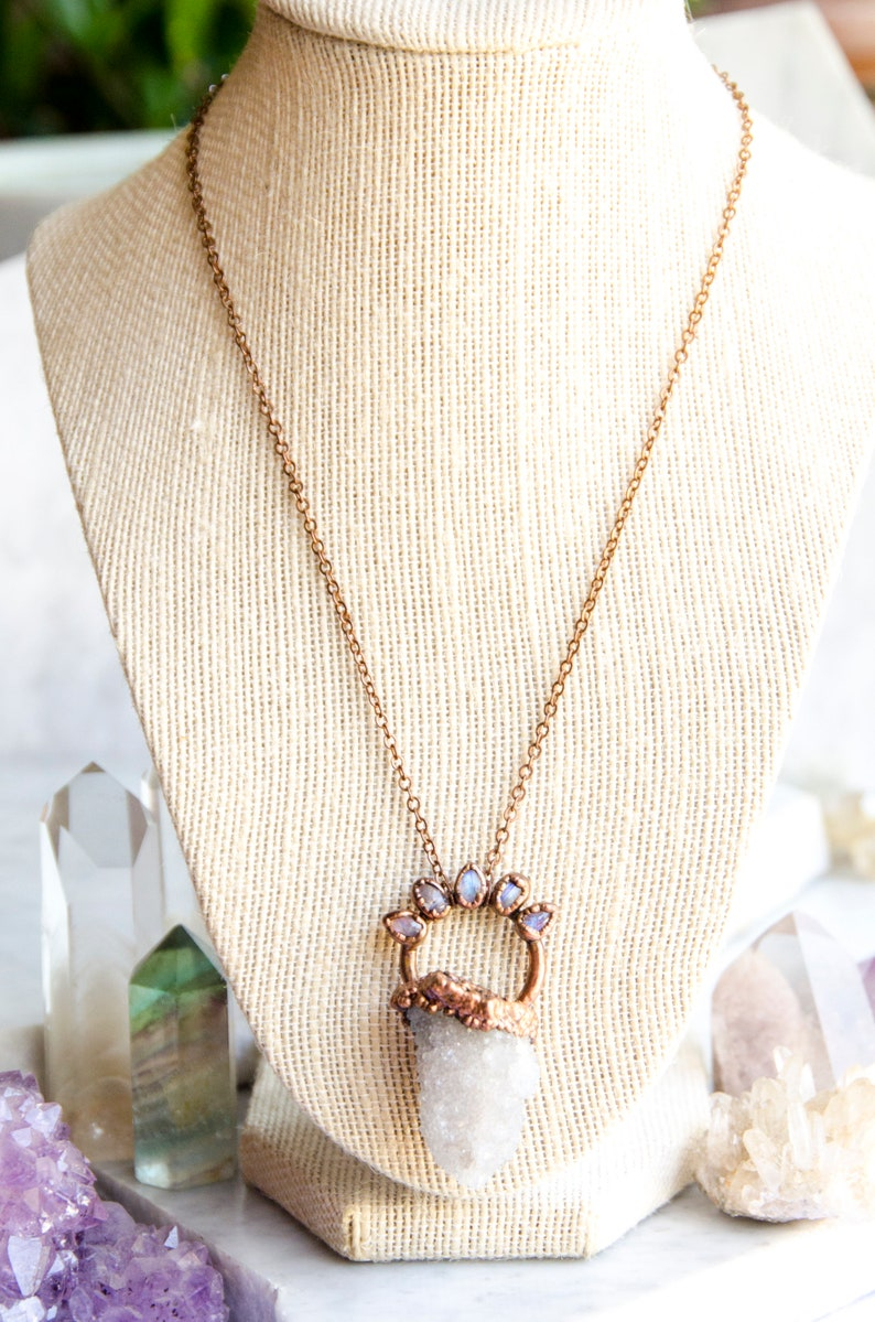 Spirit Quartz Rainbow Moonstone Necklace