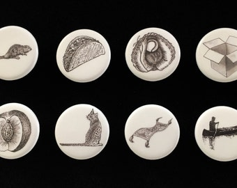"""Symbolic Vagina Buttons: Set of 8 (from endpaper illustrations in """"The Lesbian Sex Haiku Book (with Cats!)"""")"""