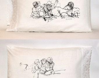 Girl Pile Pillowcase, White (Standard, Embroidered Edge)