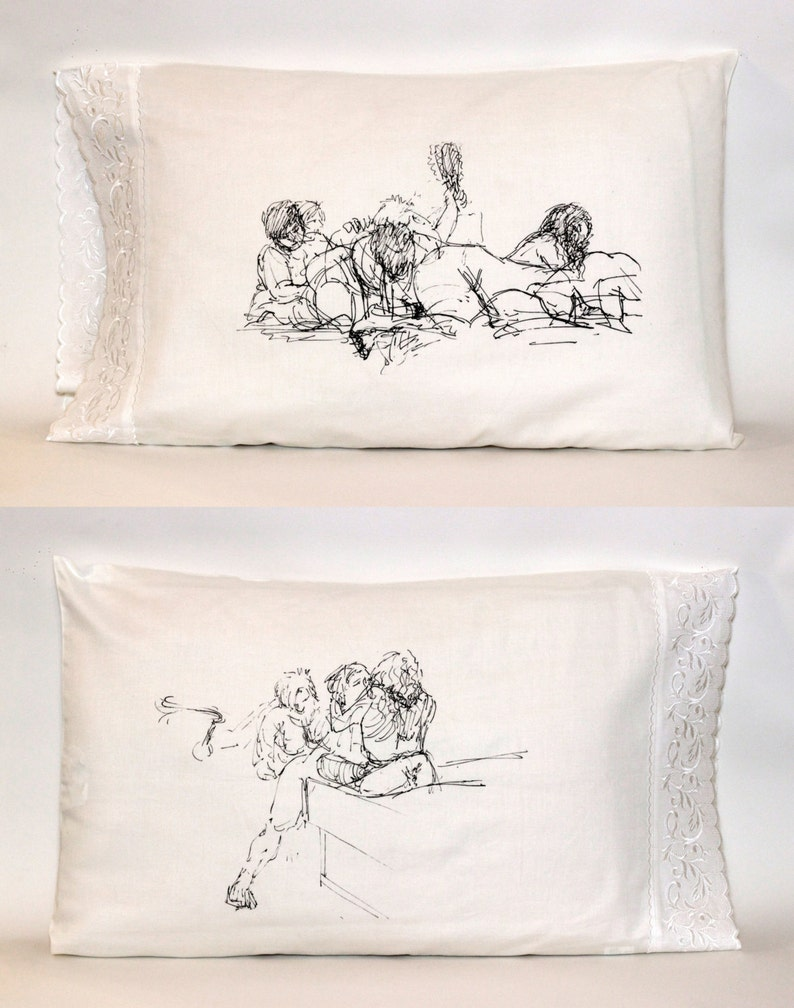Girl Pile Pillowcase White Standard Embroidered Edge image 0