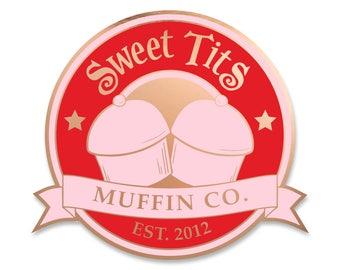 Sweet Tits Emblem - Rose Gold Soft Enamel Pin- by Denis Caron - Corvink Limited Edtion