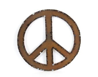 Country Chic Recycled Glass Peace Sign Rustic Home Decor Repurposed Wall Art Upcycled Broken