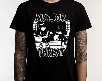 3eae4c3008 x ON SALE New! Emily The Strange Major Threat (Minor Threat Spoof) Unisex  T-Shirt - s xxxl Very Cool!