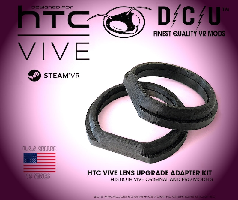 New! Gear VR Lens Wide Radius Adapter Set For HTC Vive - The Best 3D  Printed Adapters Available - Lenses Not Included - FAST Shipping!