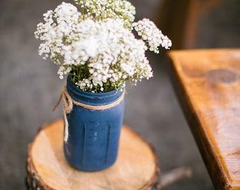 Painted Mason Jar. Wedding Centerpiece. Vase. Rustic Jars. Shabby Chic. Home. Office.