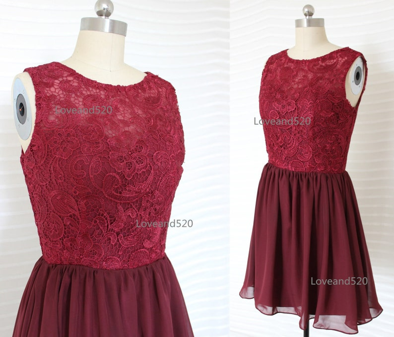 a8b2039281673 Wine red lace prom dress burgundy short bridesmaid dress | Etsy