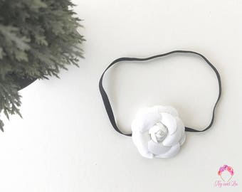 The Camelia Chanel Fabric Flower Headband for baby girls by Ny and Lu
