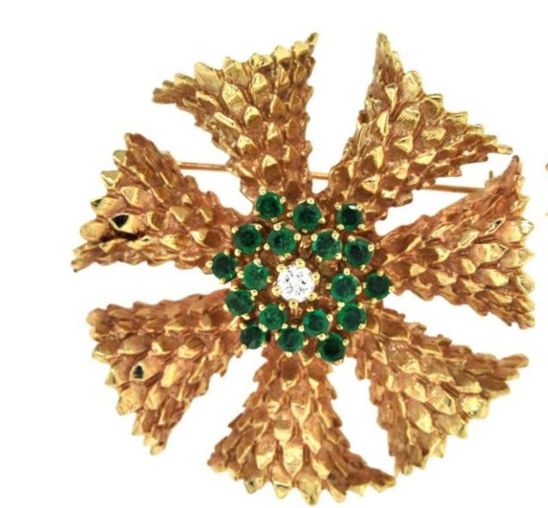 9abd2368913 Emerald and Diamond Pin Brooch 14K Textured Gold Cartier