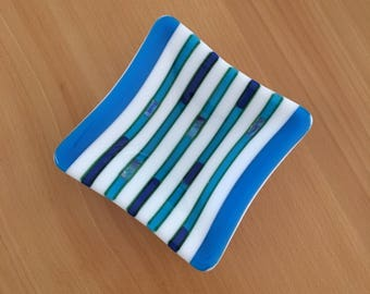 Blue and White Striped Trinket Plate
