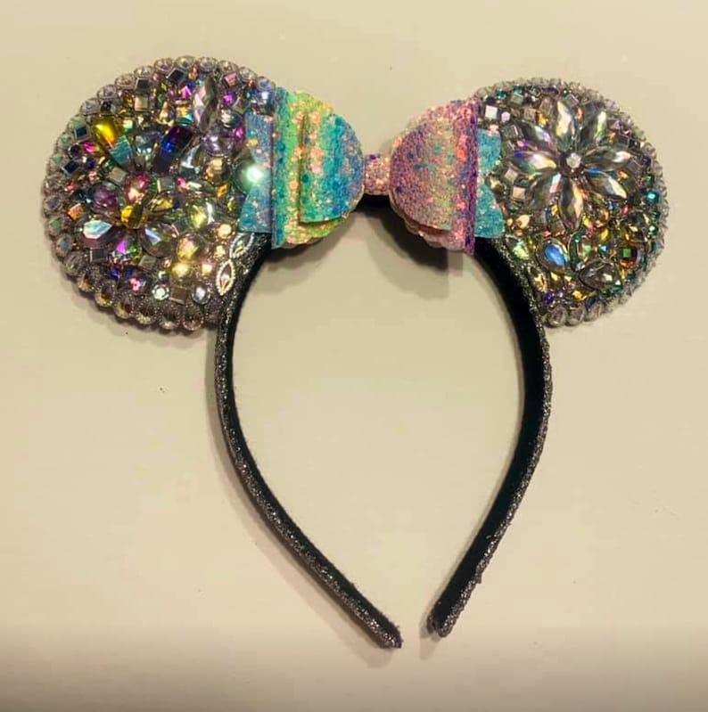 Mickey Mouse Ears rainbow bow Minnie Mouse Disney Rhinestone Mickey Mouse Ears Sparkle Mouse ears Minnie Mouse ears