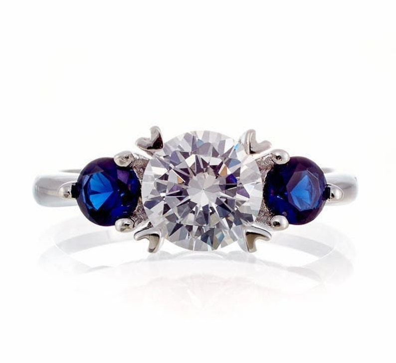 Classic Brilliant Round /& Sapphire Cubic Zirconia Engagement Ring in WGP Sterling Silver