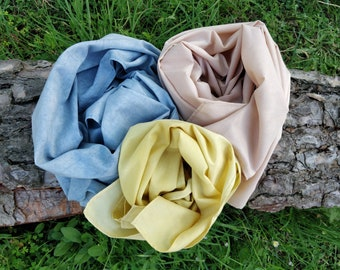 Cotton scarf summer colours botanically dyed. Vegan batiste lightweight pashmina pastel hues, sustainable fashion gift for mother's birthday