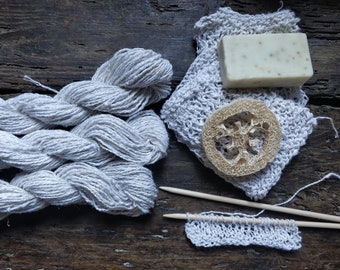 Raw nettle thread hand spun natural white undyed colour Rough yarn for crocheting bath exfoliating gloves or knitting reusable dishes sponge