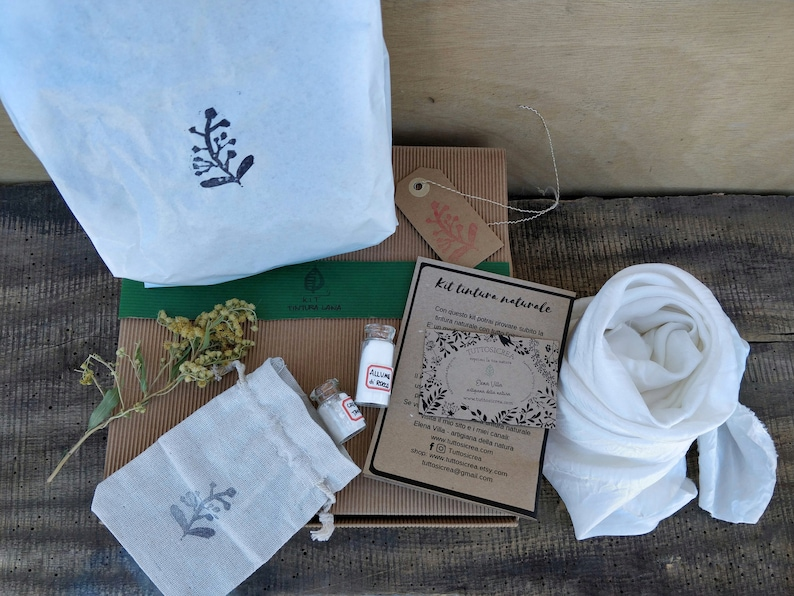 Silk fabric natural dyeing kit with dried goldenrod flowers and ecofriendly  mordants  Plant dyed scarf set for botanical dyes with herbs