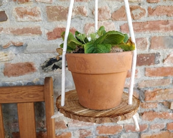 Wood slice hanging planter with cotton cord Rustic farmhouse pot holder for indoor outdoor garden, succulents display stand nordic homedecor