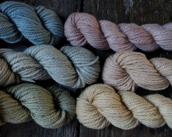Worsted merino yarn botanically hand dyed. Gradient winter tones skeins 100% italian wool for chunky knitwear, soft aran for baby blankets