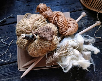 Pumpkin knitting kit with wooden needles, plant dyed yarn and wool fleece filling. Creative box for beginner knitters natural eco-friendly