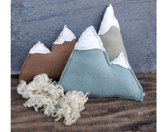 Mountain pillows set pure wool hand dyed. Woollen fabric stuffing peaks cushions natural dye with plants, mountaineer rustic gift home decor