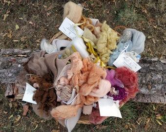 Weaving bundle textiles natural fibres plant dyed. Wool and fabric supplies set for creative sewing, stash fiber pack with offcuts and yarns