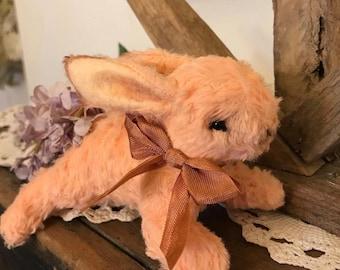 Peach Viscose Mohair Bunny Rabbit