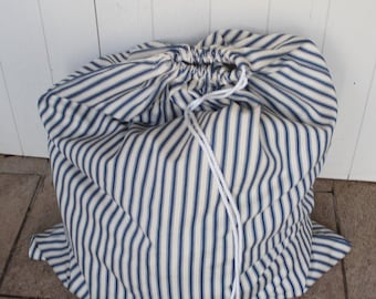 Large Laundry Bag blue and cream traditional  ticking stripe or travel size